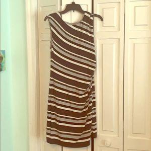 Black/gray/white striped dress